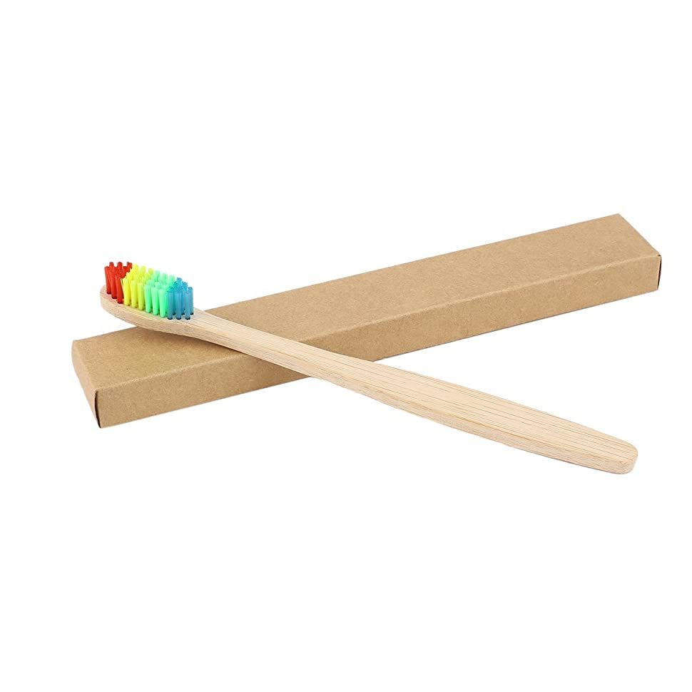 の前で発明数カラフルな髪+竹のハンドル歯ブラシ環境木製の虹竹の歯ブラシオーラルケアソフト剛毛ユニセックス - ウッドカラー+カラフル