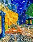 Kit De Pintura Por NúMeros Para Adultos Sobre Lienzo Diy Pintura Al Oleo Por Numeros Kit Pintura Famosa Impresionismo Vincent van Gogh Terraza de café en Arles por la noche 40x50cm Sin Marco
