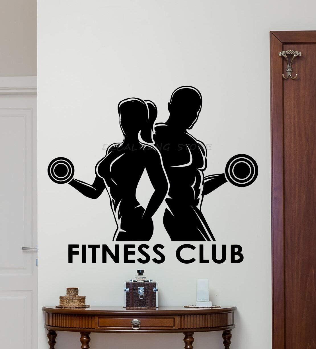 Tianpengyuanshuai Club de Salud Vinilo Pared calcomanía Deportes Hombres Mujeres Gimnasio Art Deco Mural hogar Fitness decoración-50x42cm