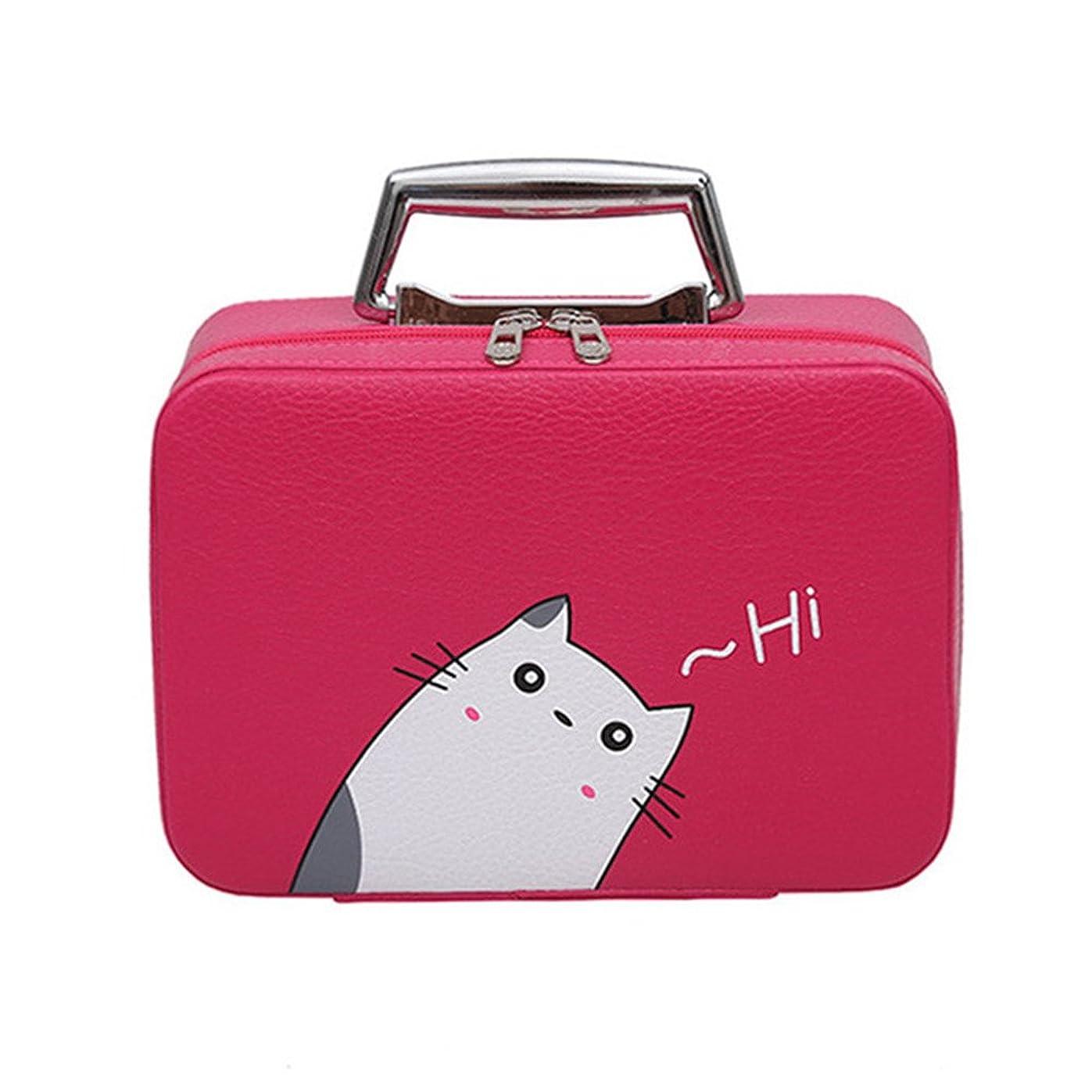 分析するアトラススライムメイクバッグ Akane ファッション 超かわいい 高品質 ねこ柄 人気 大容量 立方体 ポータブル 耐摩耗 便利 旅行 レディース 防水 激安 化粧バッグ (8色) (レッド/ねこ)