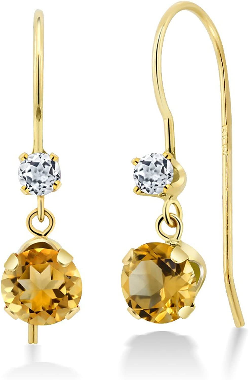 1.06 Ct Round Yellow Citrine White Topaz 14K Yellow gold Earrings