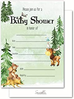 Woodland Creatures 50 Baby Shower Invitations and Envelopes for Moms Guests. Boy, Girl, Gender Neutral Invites with Forest Animal Themes of Rustic Woodland Party Supplies and Decorations