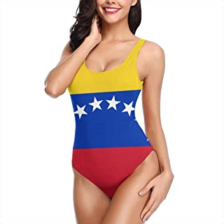 CHARLESNORTON Woman Flag of Venezuela Sexy Elasticity One Piece Backless Cossie