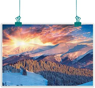 Apartment Decor Collection Light Luxury American Oil Painting Stunning Mountain View with Colorful Winter Sunrise on The Top Nature Art Photo Home and Everything 47