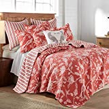 Levtex home - Tanzie Red Quilt Set - Full/Queen Quilt + Two Standard Pillow Shams - Persimmon and White - Quilt (88x92in.) and Pillow Shams (26x20in.) - Reversible - Cotton Fabric