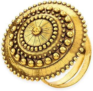 Voylla Rava Ball Adjustable Oxidised Gold Statement Ring for Women