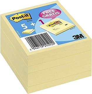 Post-it - BP370 - Note - 76 x 76 mm - Lot de 6 blocs dont 1 gratuit - Jaune