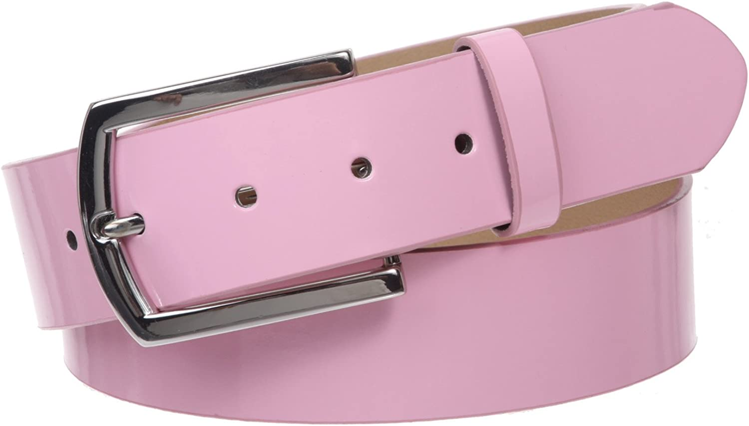 1 1 2  (38 mm) Snap On Nickel Free Faux Synthetic Patent Leather Fashion Plain Belt, Pink   L XL  37 40