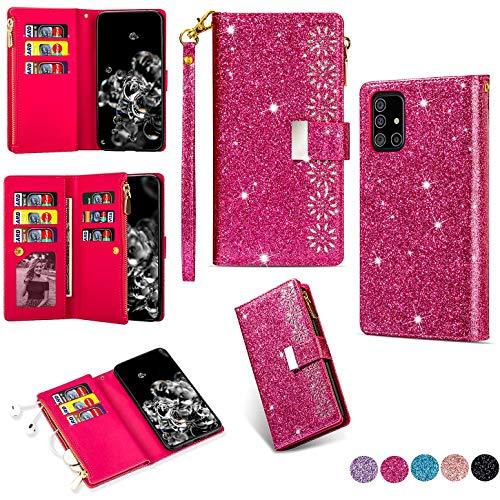 Hancda Brieftasche Hülle für Samsung Galaxy A71, Handyhülle Handytasche Glitzer Leder Tasche Flip Case Geldbörse Cover mit Reißverschluss Kartenfach Magnet Klapphülle für Samsung Galaxy A71,Rose Rot