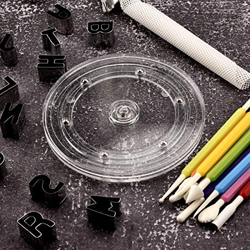 """Sangle Spoffy 6"""" Cookie Decorating Turntable with Non-Slip Pad, Acrylic Bearing Base with Clear AcrylicTop (Turntable & 9 Tool)"""