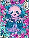 Stickset Set Bordado Imágenes Punto de Cruz Preimpreso Panda Flor 11CT DIY Art Punto de Cruz Kit de Inicio Bordado Adulto Niño Regalo Principiante para la Decoración del Hogar 40x50cm