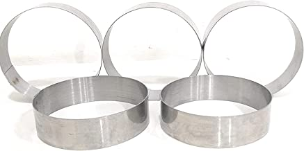 SKE Stainless Steel Baking Ring for Burger/Buns {Pack of 5} (Steel, 4 Inch Diameter & 1 Inch Hight)