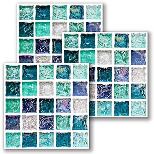 10pcs Pegatinas de azulejos, Traslados de azulejos de pared Etiqueta Etiqueta autoadhesiva Peel and Stick Backsplash Pegatinas de mosaico 3D Etiquetas de pared Vinilo impermeable Aparejos Azulejos Til