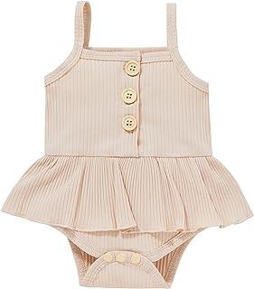 طفل صغير صيف بذلة طفل الفتيات اللون الصامد مضلع شريحة سباغيتتي بلا أكمام رومبير جيبة (Color : Beige, Kid Size : 12M)
