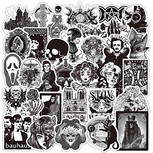 Cool Gothic Retro Skull Cartoon Stickers Vinyl Waterproof Decor Horror Style Stickers for Laptops Phone Case Luggage Skateboard Fashion Removable Decals for Kids Teens (Sticker 18)