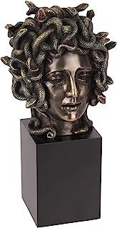 Veronese Design Cast Bronze Resin Medusa Head Figure on Plinth Bust Sculpture Painted Accent Art