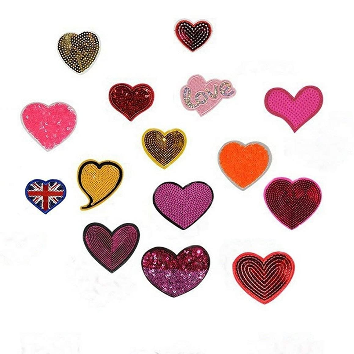15pcs Sequins Colorfull Love Heart Badges Embroidered Iron on Patches Clothing DIY Stripes Clothes Appliques