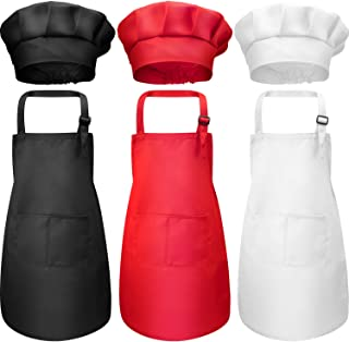 Chengu 6 Pieces Kids Chef Hat Apron Set, Boys Girls Adjustable Cotton Aprons Kitchen Bib Aprons with 2 Pockets for Kitchen...