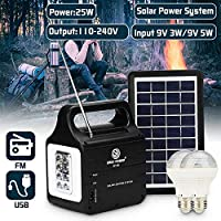 25W Solar Generator With Solar Power Panel 220V/3A Multi-functional with 2xLED Bulb Solar-charging FM Support Stereo Speaker
