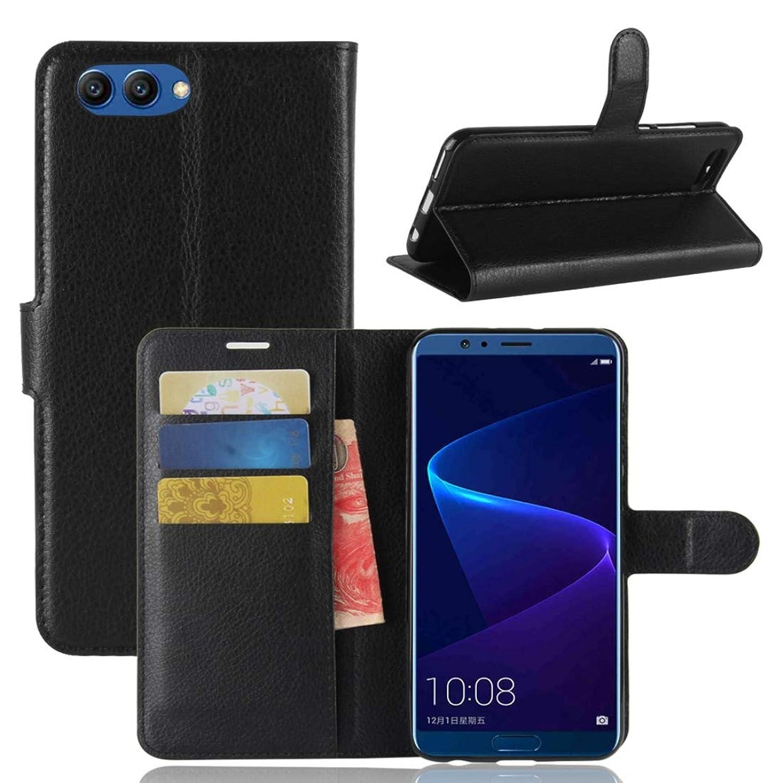 抹消パニック祖母KMLP Huawei Honor View 10リッチー·テクスチャ·ホルダー&カード·スロット&ウォレット付き水平フリップ·レザー·ケース (Color : Black)
