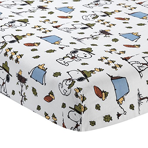 Peanuts Snoopy's Camp Out Fitted Crib Sheet, Blue/White