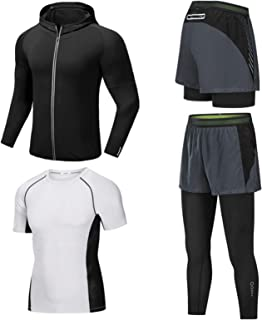 Running Sportswear Suit Men's Elastic Tight-Fitting Quick-Drying Breathable Football Basketball Training Suit Men's Fitnes...
