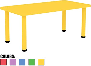 """2xhome - Yellow - Kids Table - Height Adjustable 21.5"""" - 22.5"""" Rectangle Shape Child Plastic Activity Table Bright Colorful Learn Play School Home Fun Children Furniture Round Safety Corners 24""""x48"""