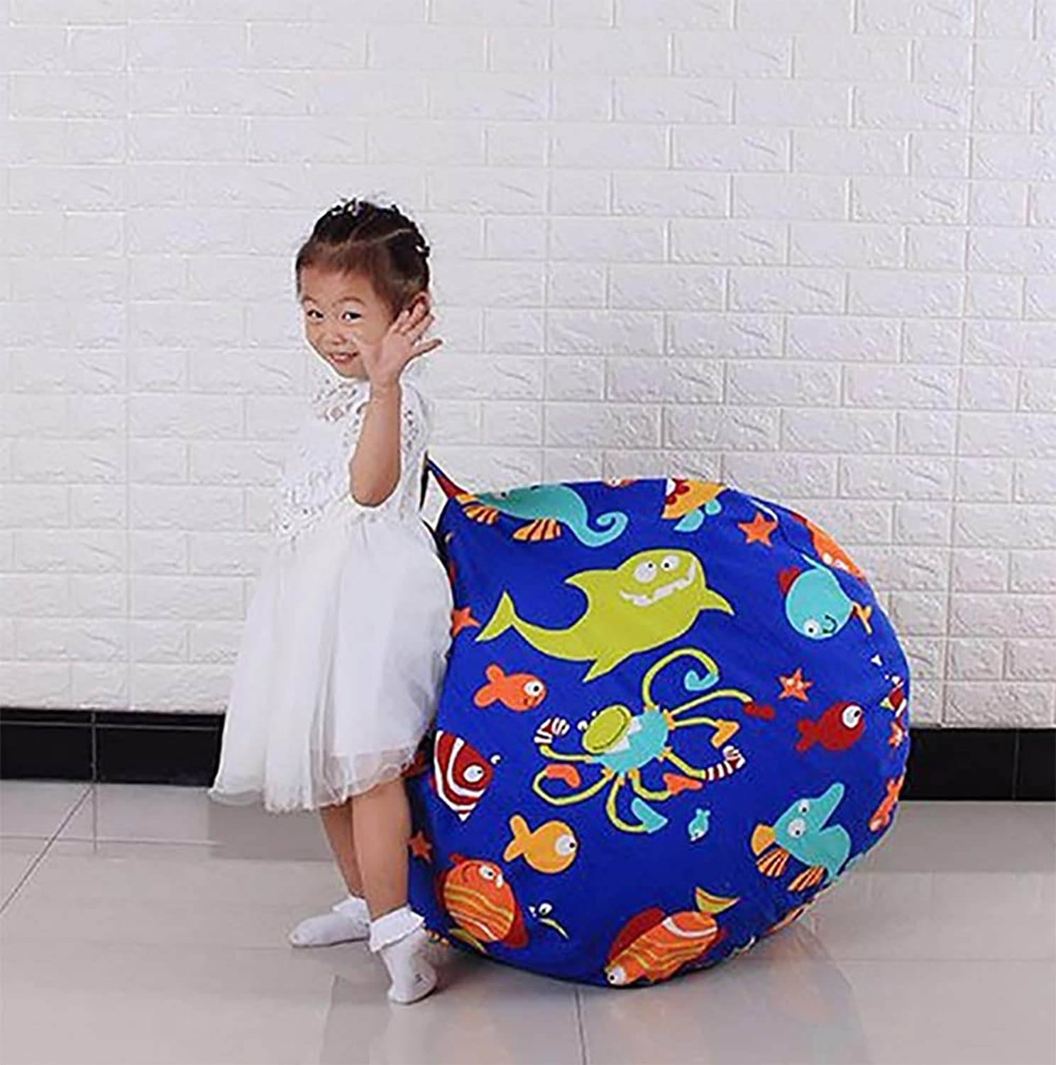 ZLQF Canvas Stuffed Animal Storage Bean Bag Chair Kids Plush Toy Clothes Quilts Organizer 38Inch