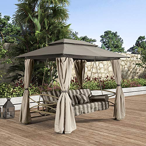 PURPLE LEAF 3 Person Outdoor Patio Porch Swing Gazebo with Netting & Gazebo Curtains, Outdoor gazebos for patios, Daybed is Adjustable, Beige