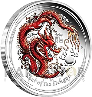 2012 Silver Australian Lunar Series - Year of the Dragon: Colorized Proof $1 Brilliant Uncirculated
