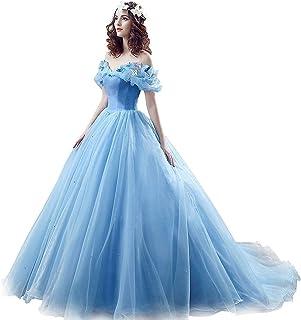W&TT Mujer de la Princesa Disfraz Mariposa Fuera del Hombro Tul Cenicienta Prom Vestido de Novia Vestidos de Noche Vestido de quinceañera,Blue,US16