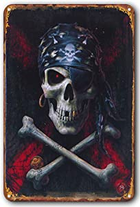 huangdd Retro Style Metal Tin Sign-The Pirate Skull Bar Garage Restaurant Cafe Men's Cave Home Wall Decoration Gift for Man Women 7.8x11.8inch