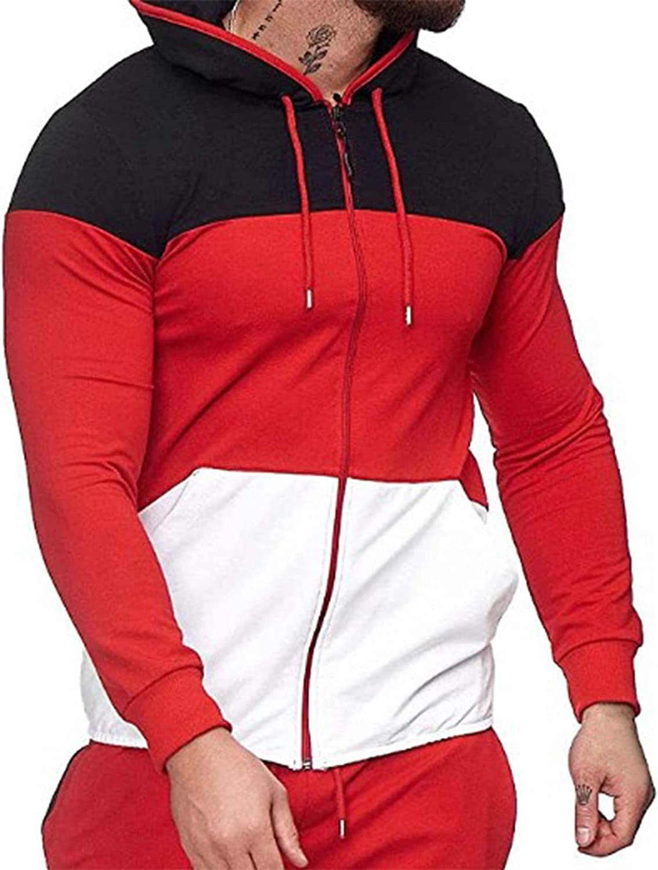 FORUU Sports Jacket For Men 2021 Fall Winter Hoodie Jackets Slim Fashion Color Block Zipper Jacket Casual Mens Coat