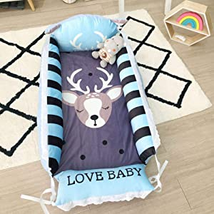 YANGGUANGBAOBEI Newborn Lounger with Removable Breathable Cover 100  Organic Cotton-Perfect For Sleeping 0-24 Months  E