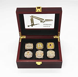 6Pcs Set 2016 K'o'b'e Retirement Commemorative Mamba Forever Ring and LA Championship Replica Ring Lakers 2000 2001 2002 2009 2010 Size 11 with Deluxe Wood Box