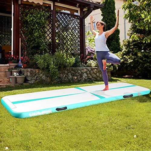 CCLIFE Aufblasbare Track Tumbling Matte 3m 4m 5m mit elektrischer Luftpumpe Air Turnmatte Trainingsmatte Gymnastik-Luftbahn, Farbe:300x100x10cm Grün