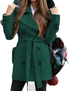 Womens with Hooded Belt Warm Double Breasted Long Sleeve Solid Color Pocket Blend Coat