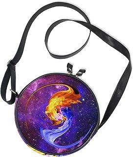 Ahomy Runde Tasche klein für Frauen – Galaxy Nebel Sternenwasser Feuer Yin Yang Damen Mode Crossbody Tasche Umhängetasche