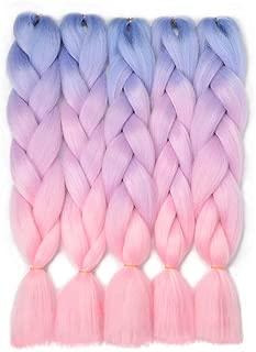 VCKOVCKO Ombre Braiding Hair Kanekalon Jumbo Braids Hair Extension 3 Tone Pink Jumbo Braiding For Twist Braiding 24