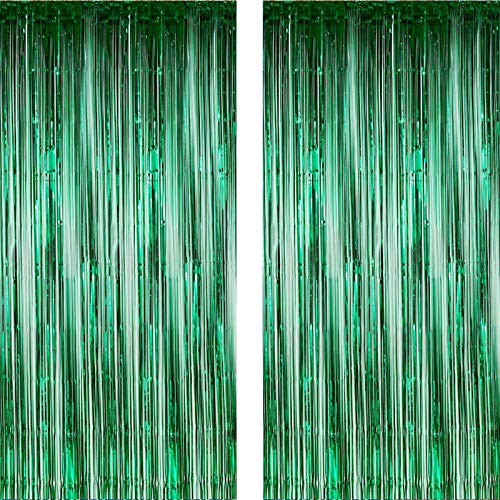 Twinkle Star 2 Pack Photo Booth Backdrop Foil Curtain Tinsel Backdrop Environmental Background for Birthday Party, Wedding, Graduation, Christmas Decorations (Green)