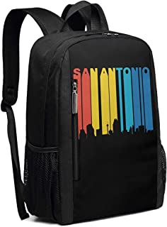 Retro 1970's Style San Antonio Texas Skyline School Rucksack College Bookbag Lady Travel Backpack Laptop Bag for Boys Girls