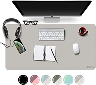 "EMINTA Dual Sided Office Desk Pad, New Upgrade Sewing Waterproof PU Leather Large Mouse Mat Desk Blotter Protector, Ultra Thin Desk Writing Mat for Office/Home (Gray/Silver, 31.5"" x 15.7"")"