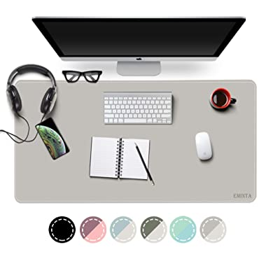 EMINTA Dual Sided Office Desk Pad, New Upgrade Sewing Waterproof PU Leather Large Mouse Mat Desk Blotter Protector, Ultra Thin Desk Writing Mat for Office/Home (Gray/Silver, 31.5  x 15.7 )
