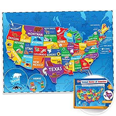United States Puzzle for Kids - 70 Piece - USA Map Puzzle 50 States with Capitals - Childrens Jigsaw Geography Puzzles for Kids Ages 4-8, 5, 6, 7, 8-10 Year Olds - US Puzzle Maps for Kids Learning