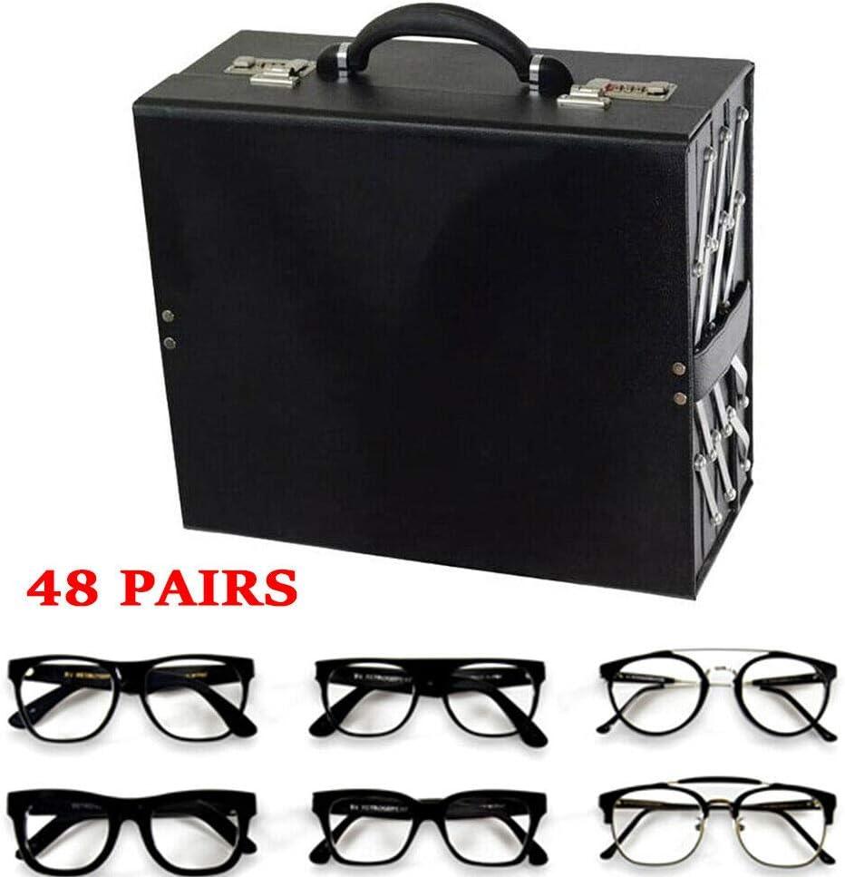 DNYSYSJ 48 Slot Sunglasses Storage Case, Black Luxury Eyeglasses Display Box Organizer, Foldable Eyewear Suitcase Glasses Drawer Jewelry Collector As Home Office Decoration, PU Leather