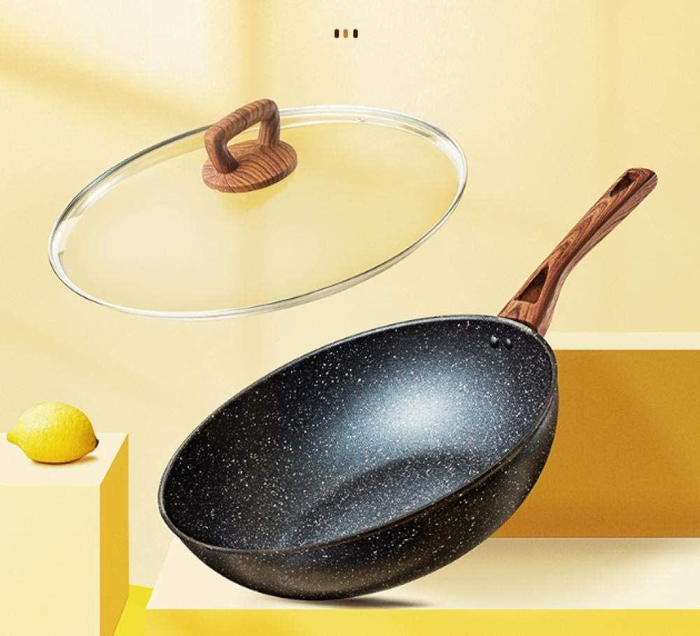 AMYZ Sauteuse à revêtement antiadhésif,marmite à Fond Plat Couleur Pierre Maifan,poêle antiadhésive,Convient pour cuisinière à gaz cuisinière à Induction-B_32cm A
