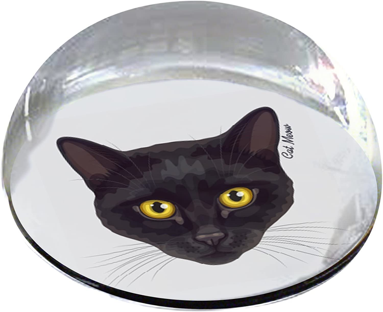 Forever Crystal Black Cat with Yellow Eyes Pet Memorial Magnet