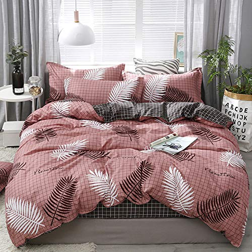 BH-JJSMGS Four-piece bedding set for student dormitory, sheets and duvet covers, lightweight polyester microfiber duvet covers, leaves 150 * 200cm