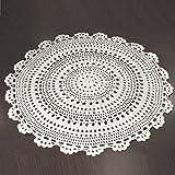 UOOOM 2 Stück handgemachte Häkeldeckchen, rund, Baumwolle, mit Lochmuster, Tischsets mit Blumenmuster, Baumwolle, weiß, Diameter 25cm