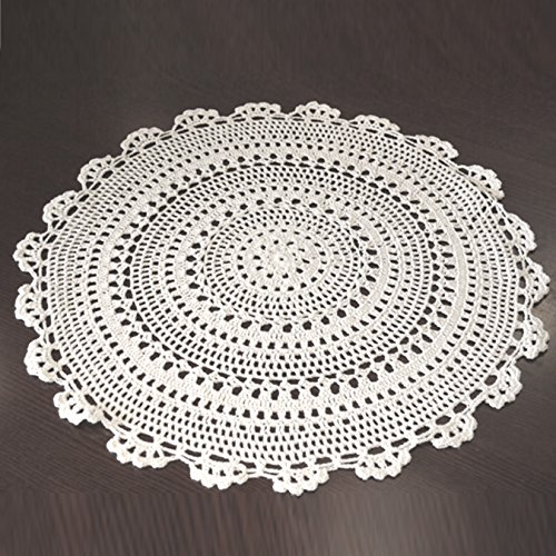 UOOOM 2 manteles individuales de ganchillo hechos a mano con patrón de flores (blanco, diámetro de 25 cm)
